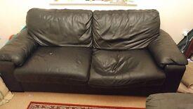 Leather sofa and Ikea Beddinge Lovas sofa bed Free to collect