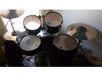 All black Pearl export EX series drum kit with cymbal set