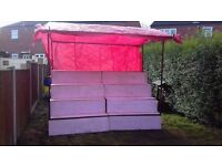 Stepped market stall boards clips and tarps