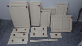 Cream solid pine kitchen cupboards