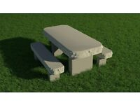 bull nose stone table and bench