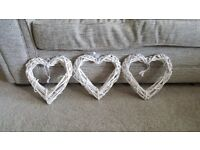 3 White Wicker Hearts