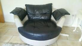 Cream and black Italian leather settee and one swivel love chair