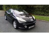 PEUGEOT 207CC 1.6 SPORT CONVERTIBLE 08 REG IN BLACK WITH ONLY 71,400 MILES AND SERVICE HISTORY