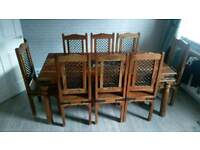Table and eight chairs solid wood