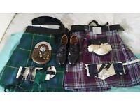2x Kilts, shoes, sporrans etc