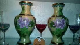 Pair of Cloisonne Urns Vases