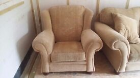 gold coloured 3 ,2 and 1 seater sofa's in excellent condition