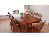 Very solid pine table and 8 chairs. Delivery can be arranged if required