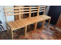 Four very solid pine chairs in excellent condition..Delivery can be arranged if required