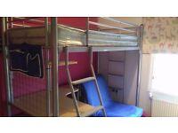 Metal high sleeper single bed whit desk chair bed , mattress