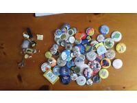 metal tin collectable badges 70 of 1980`s job lot