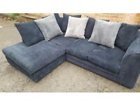 Comfy 1 month old black corded corner sofa, clean and tidy. modern design.can deliver