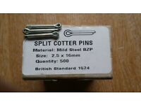 Split Cotter Pins 2.5mm x 16mm Zinc Plated Pack of 500 UK Made BS 1574