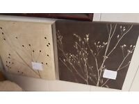 Two Brown Fabric Pictures of Twigs