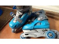Blue Dunlop 3 wheel roller inline skates size 12.5 - 13.5