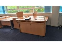 office desks, chairs, and units.