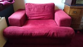 Large red arm chair