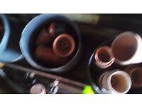 tubs of pot and plastic plant pots