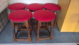 5 x stools with upholstered tops
