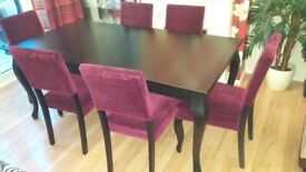 Extendable Dining Table Set 6 chairs black up to 10 seats