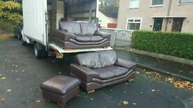 Very modern 2+2 seater sofa + pouffee in dear grade of leather £325