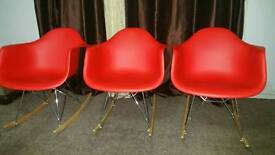 3 x Beautiful Red Swing Rocking Chairs Almost New - not Sofa