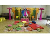 Mehndi Stages for Hire & Wedding Stages from £250, Floral Stages, House Lighting & Chair Covers