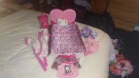 Build a bear bed and Hello Kitty accessories