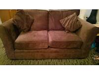 Brown fabric 2 and 3 seater sofas