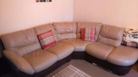 6-Seater Brown Leather Corner Sofa - Good Condition