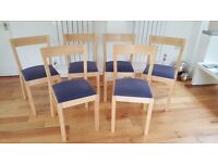 Set of six Ikea dining chairs, Birch frames and upholstered seat pad + two sets of seat covers