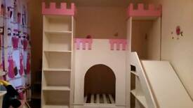 Bespoke princess castle bunk bed with stairs case and slide