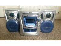Panasonic 5 disk cd player sound system, including 2 tape deck player