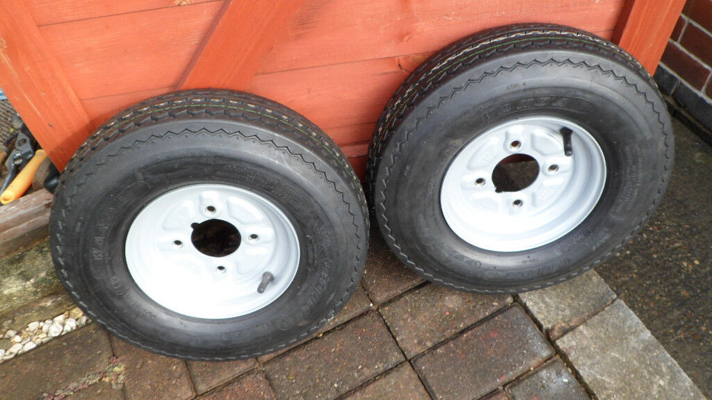 two new trailer wheels 480/400 x 8 with 4 inch pcd sell or swap for two to fit erde with 115 pcd