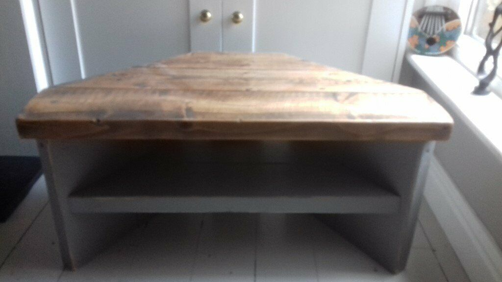 cheap for discount 91d33 ad902 Reclaimed railway sleeper corner TV unit, grey painted legs | in Cambridge,  Cambridgeshire | Gumtree