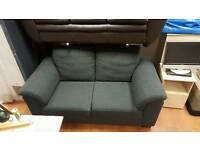 2 seater sofa in black fabric