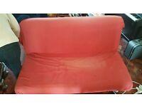 Red Ikea Sofa / Bed / Futon On Wheels