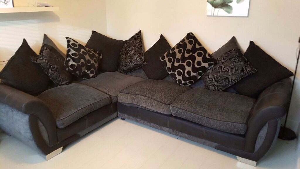 Dfs Shannon Black Faux Suede And Grey Fabric Pillow Back