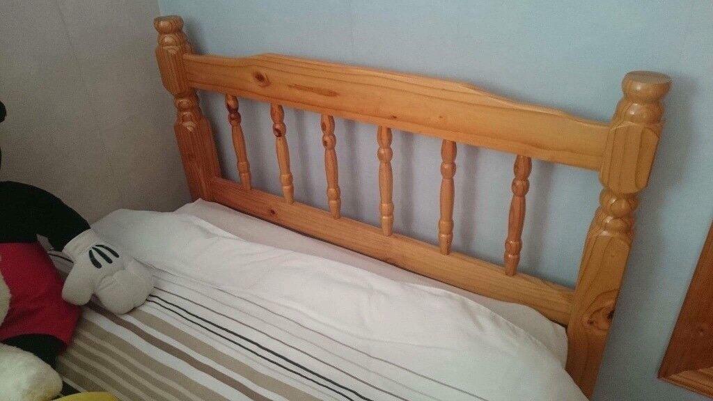 3ft Pine Single Bed & Mattress.