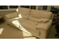 2 cream 3 seater DFS leather sofas