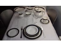 Gorgeous 8 setting Royal Doulton Biltmore dark green and gold dinner service