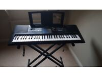 Yamaha PSRE333 Portable Keyboard, with Duronic stand and carrycase
