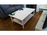 White Ikea coffee table.