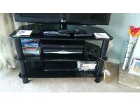 Black glass 3 tier TV table