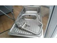 Steel kitchen sink and seperate drainer and free steel mixer tap