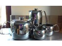 Old Hall stainless steel teapot, coffe pot, milkjug and sugar bowl