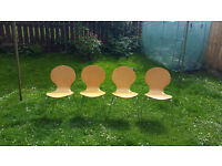 Set of four beech and chrome dining chairs by M & S , £30