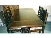 Rectangular refectory oak table and 4 chairs