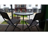 Balcony furniture - 2 seats and a half moon table - Excellent condition £40ono